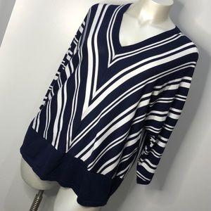 Lane Bryant Navy Blue White Striped V Neck